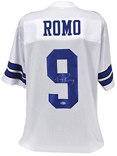 - Signed Tony Romo Jersey - White BAS Witnessed - Beckett Authentication - Autographed NFL Jerseys