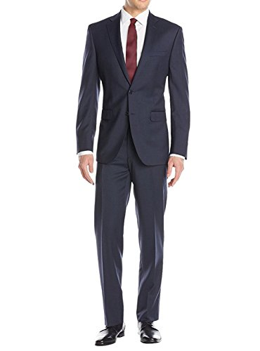 Luciano Natazzi Men's Birdseye Suit 2 Button Modern Fit Jacket Flat Front Pant (46 Regular US / 56R EU / W 40