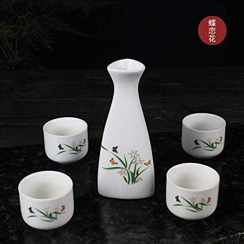 Set De Vino De Cerámica, Separador De Vino, Pequeño Vaso De Alcohol. Olla triangular con cuatro tazas Mariposa amor flor