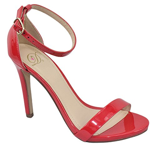 Delicious Women Ankle Strap High Heel Open Toe Dress Sandal Leather JAIDEN (7.5, Red (Red Patent Open Toe Pumps)