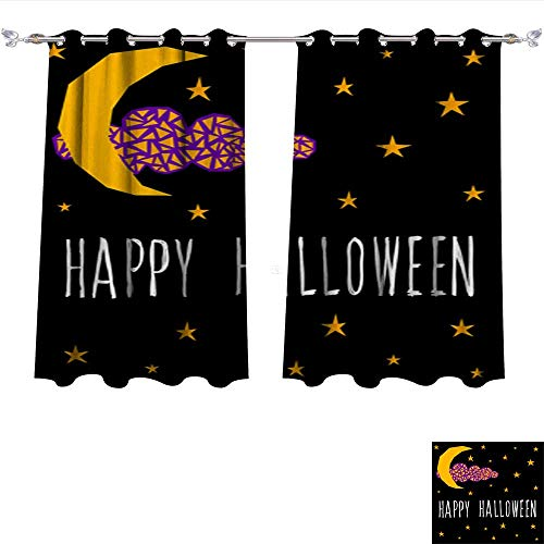 DragonBui Waterproof Window Curtain Happy Halloween Card Template Abstract Halloween Pattern for Design Card Party Invitation Poster ALB Shades Window Treatment Valances Curtains W55 x L39/Pair ()