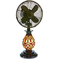 DecoBREEZE Oscillating Table Fan and Tiffany Style Table Lamp, 3-Speed Ciculator Fan, 10-Inch, Edwardian