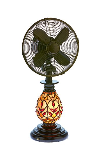 - DecoBREEZE Oscillating Table Fan and Tiffany Style Table Lamp, 3 Speed Circulator Fan, 10 In, Edwardian