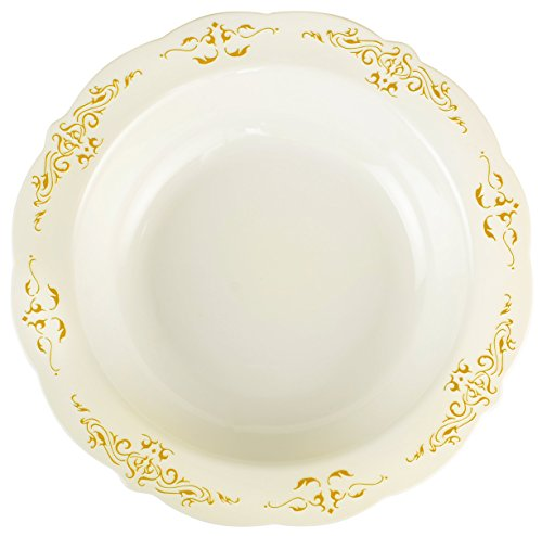 Heritage 10 oz Round Soup and Dessert Bowl Embossed with Decorative Golden Trim, Medium, Bone/Gold (Embossed Soup)