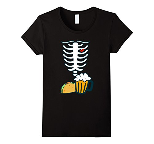 Womens SKELETON SHIRT | Halloween Costume Beer & Tacos Lovers Small (Cool Halloween Contact Lenses)