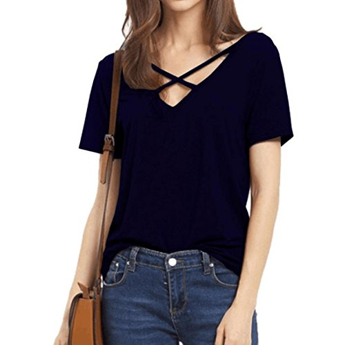 Amanod 2018 discount hot sale Women's Summer Cross Front Tops V-Neck Casual Blouse Girls Tees T Shirts
