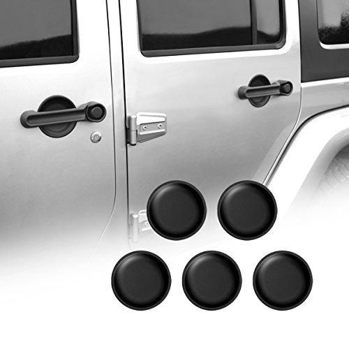AMERICAN MODIFIED Jeep Wrangler Door Grab Handle Inserts Door Handle Cover for 4 Doors Jeep Wrangler Accessories JK JKU & Unlimited Rubicon Sahara Sports 2007-2018,Aluminum Red(5 Pcs) ()