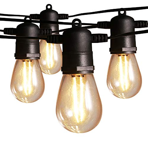 48FT Outdoor String Lights, Ltteny Patio String Lights with 2W Dimmable Edison Vintage Plastic Bulbs Commercial Grade…
