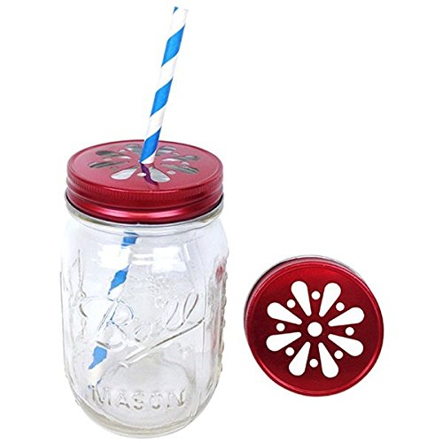 Just Artifacts 16oz Regular Mouth Glass Mason Jars w/ Daisy Cut Lids – Set of 6 (Lid Color: Red)