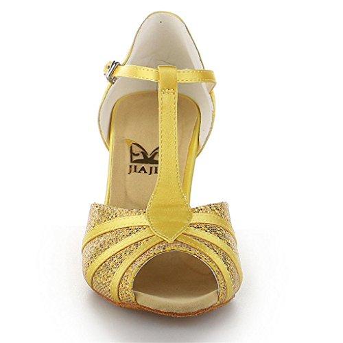 Jia Jia Y20524 Damen Sandalen Ausgestelltes Heel Super-Satin Latein Tanzschuhe Gold