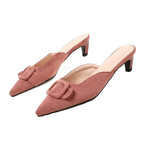 Pink Women Open Kitten Heel Back TAOFFEN Sandals xpYzPwqAA