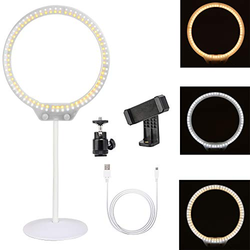 Zomei Tabletop Dimmable Halo LED Ring Light Portable Selfie 3200K-5500K Ring Light for Makeup DSLR Camera iPhone Sumsang Phone YouTube Video Shooting(White)