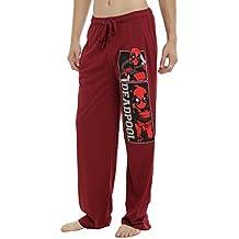Deadpool Marvel Sleep Lounge Pants Burgundy Red Mens Guys Pajama Bottoms Comic Book Panels