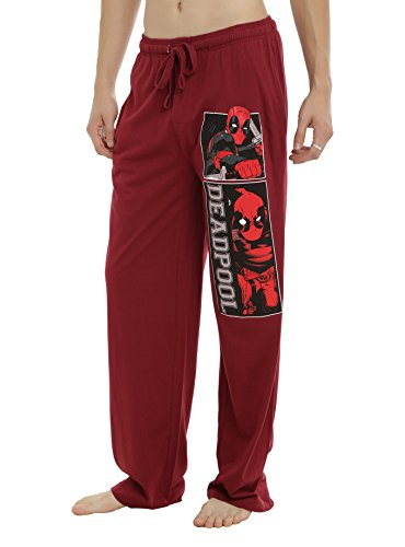 Deadpool Marvel Sleep Lounge Pants Burgundy Red Mens Guys Pajama Bottoms Comic Book Panels (Small)