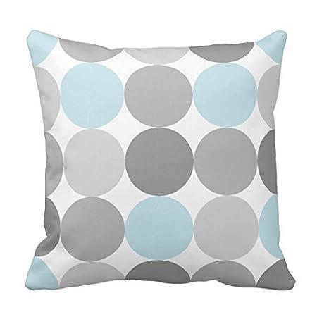 nicholasart gris y luz azul turquesa redonda círculo decorativo cuadrado manta funda de almohada personalizada cushion cover Home Decorative funda de ...