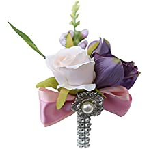 MagiDeal Silk Wedding Flower Roses Bride Bridal Bouquet Brooch Corsage Bridesmaid Valentine's Day Boutonniere Bridal Shower Prom Decor - White Carnation, as described