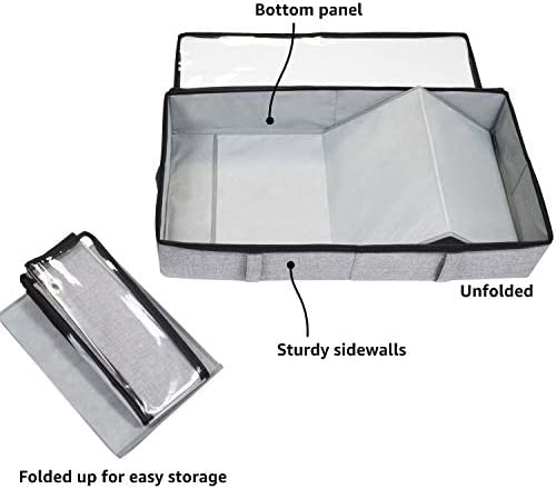 storageLAB Underbed Storage Containers, Under Bed Storage for Clothes, Blankets and Shoes, Woven Fabric with Plastic Panel Structure, 2-Pack - 33'' x 17'' x 5.7'' (Grey)