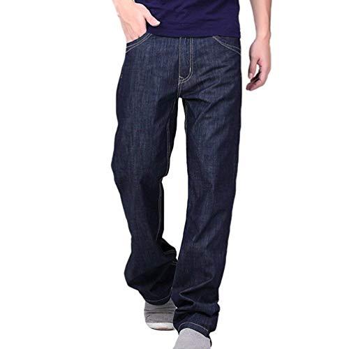 Dunkelblau E Jeans Slim Larghi Uomo Pantaloni Fit T Cowboy Lunghi Da Strappati Casual 1wr7qU14R