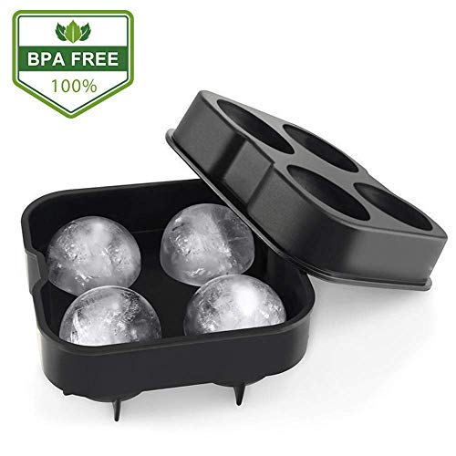 HIPPIH Ice Cube Trays, Food-Grade Silicone Sphere Whiskey Round Ball Maker with Lids Ice Cube Molds for Cocktails & Bourbon - Reusable & BPA Free (Black)