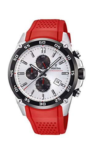 Festina 'The Originals Collection' Men's Quartz Watch with White Dial Chronograph Display and Red Rubber Strap - Dial Red Rubber Strap