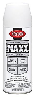 Krylon 9159 COVERMAXX Spray Paint, Satin Bright White, 12 Ounce