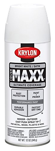 Krylon K09159000 COVERMAXX Spray Paint, Satin Bright White, 12 ()