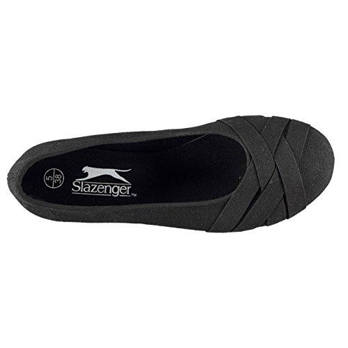 Slazenger Mujer De Lona Zapatillas Negro Bailarinas aYwBwdqxr