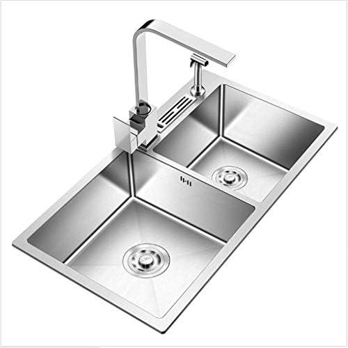 正方形のキッチンシンクは304ステンレス鋼の二重ボウル埋め込みシンクリバーシブルドレインフィルターを厚く