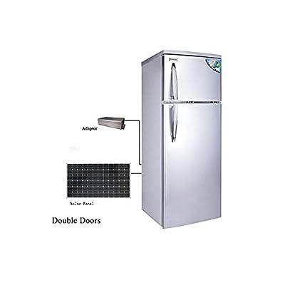 DC12V 68W Solar Refrigerator Freezer 7.4 Cubic. ft, Cowin Solar Powered Fridge, 150 W Solar Pannel, Double Doors, Low Voltage