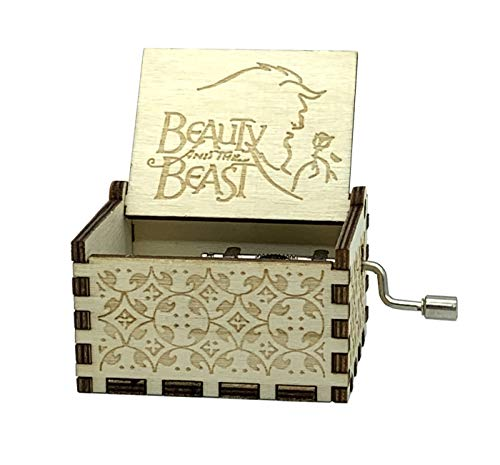 Music Box- 18 Note Mechanism Antique Carved Wooden Music Box Crafts (Beauty and the Beast) ()