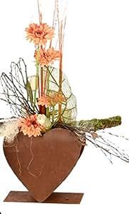 dewoga Corazón Doble sobre placa 28x 28cm oxidado oxidado metal flores llenar Jardín Decoración Nuevo