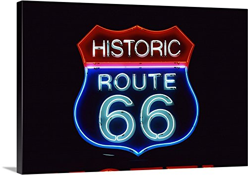 Canvas on Demand Premium Thick-Wrap Canvas Wall Art Print entitled Neon Route 66 Sign 30