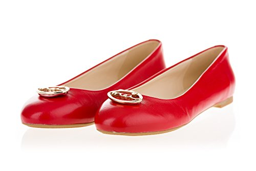 MEI Bailarinas de Piel Para Mujer Rojo
