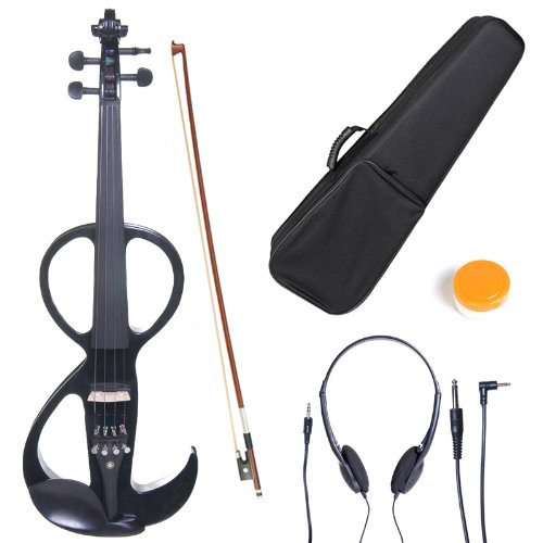Cecilio 4/4 CEVN-3BK Solid Wood Electric/Silent Violin with Ebony Fittings in Style 3 - Full Size - Black Metallic by Cecilio