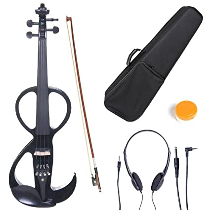 Cecilio CEVN-3BK Ebony Fitted Silent Electric Violin, Style 3, Metallic Black, Size 4/4 (Full Size) 4/4CEVN-3BK
