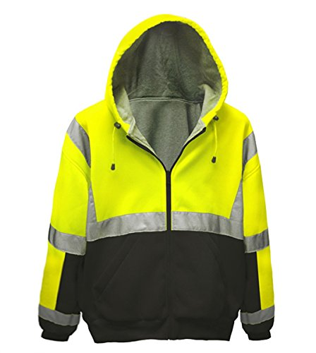 Brite Safety Style 5010 Safety Sweatshirt, Hi Vis 2-Tone Hoodie, with Thermal Liner, Full Zip, 16oz, ANSI 107 Class 3 Compliant (Large)