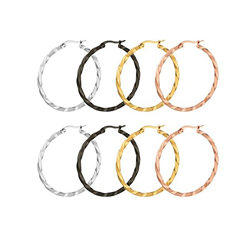 Paxuan Womens Girls 4 Pairs Twisted Silver Rose Gold Black Surgical Stainless Steel Hoop Earrings Set Hypoallergenic 30MM (4 Pairs Set(30mm)) Gold Hoop Jewelry Set