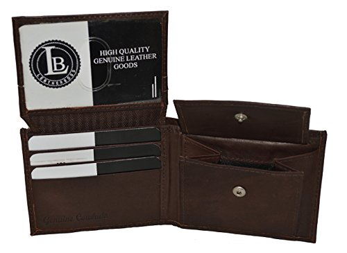 ap Id and Coin Pocket Bifold Wallet (Dark Brown) (Flap Pocket Wallet)