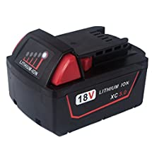 FLAGPOWER Cordless Tools Replacement Battery 18V 5.0Ah Li-ion for Milwaukee M18 XC 48-11-1815 48-11-1820