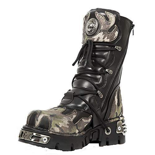 Goth Boot Flamme 591 Rock s15 Metallic Cuir De New Biker Camouflage Noir zgPqUntwx