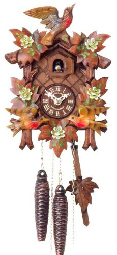 Original One Day Movement Cuckoo Clock with Hand Painted Flowers and Moving Birds 10 Inch