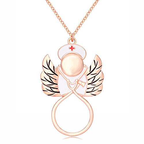 - SENFAI Cardiogram Stethoscope Angel Nurse Eyeglass Holder Brooch for RN Graduation Gift (Rose Gold Necklace)