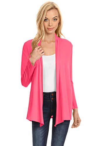 Womens Open Drape Cardigan Reg and Plus Size Cardigan Sweater Long Sleeves - USA (Size XLarge, Coral) ()