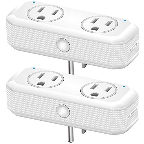 WiFi Smart Plug socket for use with Alexa Echo/Google Home/IFTTT, OUKITEL dual mini smart socket, remote control, timer, no hub required, ETL Listed-2 Pack