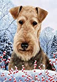 """Airedale Terrier by Tamara Burnett Winter Berries Garden Dog Breed Flag 28"""" x 40"""" For Sale"""