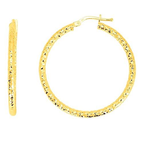 REBECCA - boucles d'oreilles - Créoles - 30 MM - Or jaune - 9 carats - www.diamants-perles.com