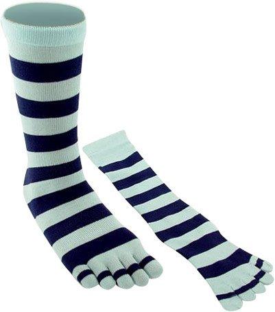 Adult Two Tone Blue Striped Knee High Toe Socks