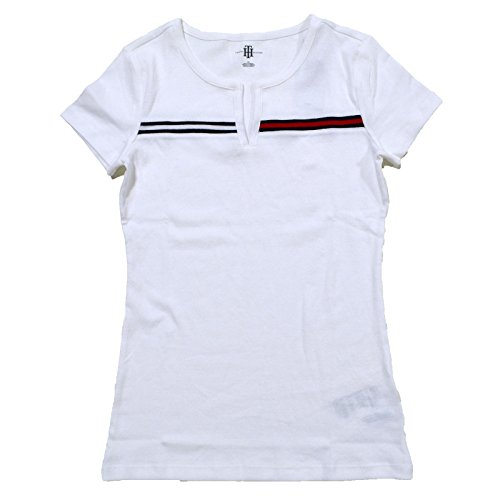 Tommy Hilfiger T-shirt Top - Tommy Hilfiger Womens Split-Neck T-Shirt (White, Small)