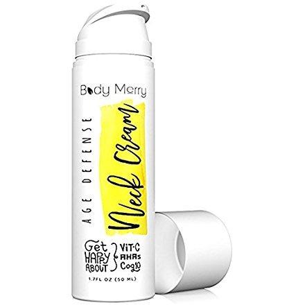 Age Defense Neck Cream-Tightening Anti-Wrinkle & Neck Firming AHA Lotion w Glycolic Acid + Vitamin C + CoQ10