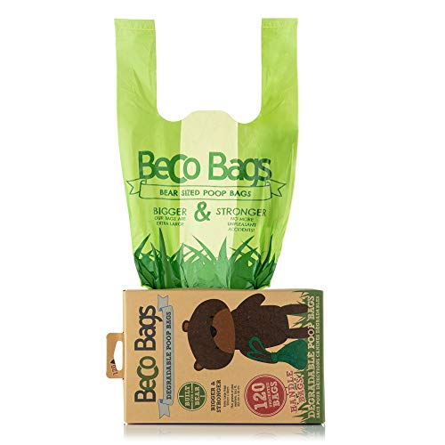 Beco, 120 Strong & Large Poop Bags for Dogs | Tie Handles | Unscented Poo Bags